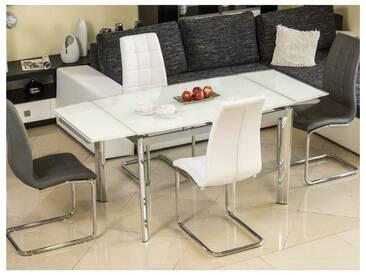 JUSTyou GD-020 Table a rallonge Chromé Blanc