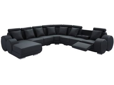 CHARLES L Canapé de relaxation d'angle gauche fixe 10 places - Simili noir - Contemporain - L 346 x P 188 cm