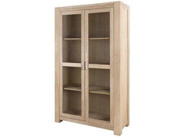 CASTELLO Vitrine - Style classique - En bois chêne massif naturel - Portes en verre transparent - L 120 cm