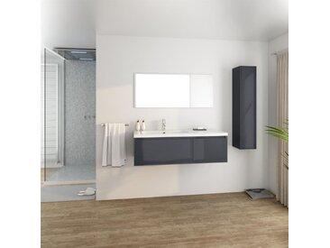 GIRONA Salle de bain complète simple vasque L 120 cm - Gris laqué brillant