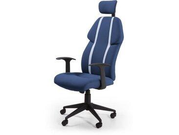 BUZZ Chaise de burreau - Simili et tissu bleu - Style urbain - L 63 x P 67 cm