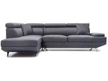 SCOOP Canapé dangle gauche fixe 4 places - Tissu gris foncé - Contemporain - L 259 x P 182 cm