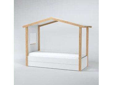 CASTEL Lit cabane contemporain en bois tilleul massif blanc mat - l 90 x L 190 cm