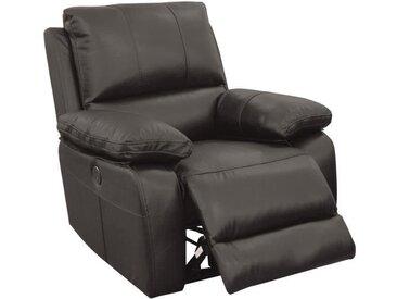 ALFRED Fauteuil de relaxation électrique en cuir et simili noir - Contemporain - L 92 x P 94 cm