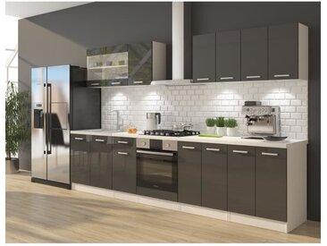 ULTRA Cuisine complète avec meuble four et plan de travail inclus L 300 cm - Gris brillant