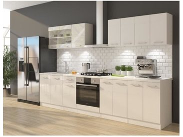 ULTRA Cuisine complète avec meuble four et plan de travail inclus L 300 cm - Blanc brillant