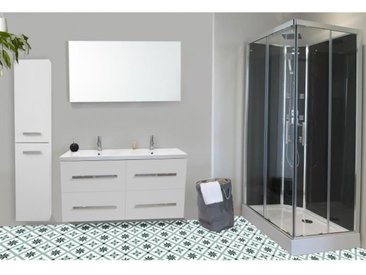 NUEVO Salle de bain complète double vasque L 120 cm - Blanc laqué