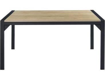 TEXAS Table à manger de 6 à 8 personnes style industriel décor chêne + pieds en métal noir laqué - L 160 x l 90 cm