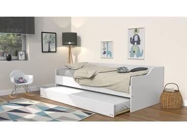 COSY Lit gigogne contemporain laqué blanc + sommier en bois épicéa massif - l 90 x L 190 cm