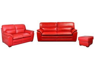 FLORENCE Ensemble canapés droit fixe 3 + 2 places avec pouf - Cuir rouge - Contemporain - L195 x P85  L155 x P85 cm et L60 x P60 cm