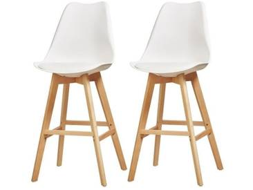 BJORN Lot de 2 tabourets de comptoir pieds en bois hêtre massif - Revêtement simili PU blanc - Scandinave - Assise H 65cm