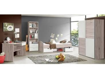LUPO Chambre enfant complète style classique décor chêne cendré et blanc mat - l 90 x L 190 cm