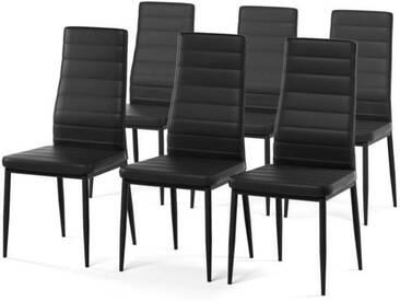 SAM Lot de 6 chaises de salle à manger en simili noir - Style contemporain - L 50 x P 44 cm