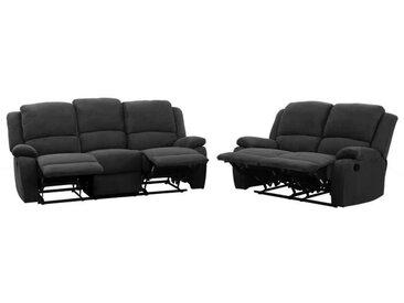 RELAX Ensemble de 2 canapés de relaxation droit 3 + 2 places - Tissu noir - Contemporain - 190 et 144 x P 93 cm