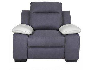 JACOB Fauteuil de relaxation - Tissu gris et accoudoirs cuir blanc - Contemporain - L 114 x P 101 cm