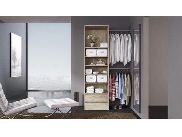 COMBI Kit dressing 1 colonne + 2 barres de penderie contemporain décor chêne clair - L 116 cm