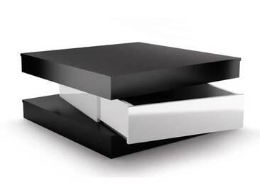 FIXY Table basse carrée style contemporain noir et blanc brillant - L 80 x l 80 cm