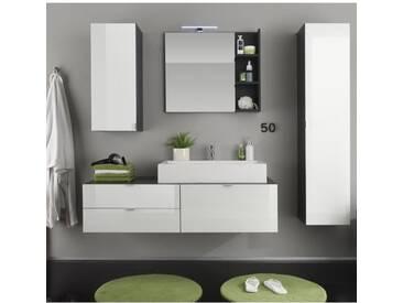 BEACH Ensemble salle de bain simple vasque L 140 cm + colonne et miroir - Gris anthracite et blanc brillant