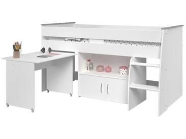 ZOLA Lit combiné enfant classique - Décor blanc megève - l 90 x L 200 cm