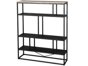 """Étagère """"L"""" scandinave en bois acacia massif naturel, noir et blanc + pieds en métal noir - L 110 cm"""