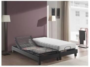 DORMAFLEX Ensemble 2 matelas+2 sommiers 2x70x190cm 19cm mousse HR + mémoire de forme confort très ferme 65 kg/m³