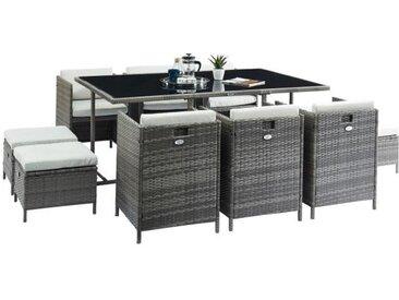 TILOS Ensemble table en résine et verre trempé + 6 fauteuils et 4 poufs - 167 x 110 x 74 cm - Gris