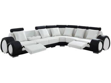 GEOFFREY Canapé de relaxation d'angle panoramique 7 places - Simili blanc et noir - Contemporain - L 343 x P 136 cm