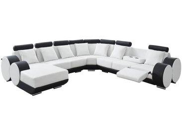 CHARLES L Canapé de relaxation d'angle droit fixe 10 places - Simili blanc et noir - Contemporain - L 346 x P 188 cm