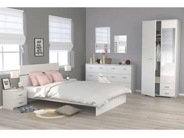 COSMOS Chambre complète 140 x 200 cm - Contemporain - Décor blanc - 2 chevets L 39 cm, 1 commode L 153 cm et 1 armoire L 90 cm