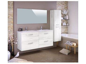 STELLA Ensemble salle de bain double vasque avec colonne et miroir L 120 cm - Décor bois blanchi