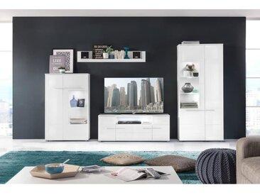 VISION Meuble TV mural avec LED contemporain blanc mat et blanc brillant - L 321 cm