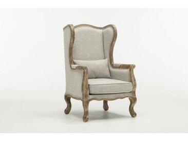 CHAMBOURCY Fauteuil bergère - Lin gris - L 67 x P 69 cm