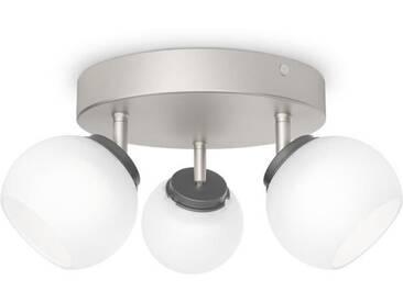 PHILIPS Plafonnier de 3 spots LED Balla - Chrome mat- Ampoule incluse
