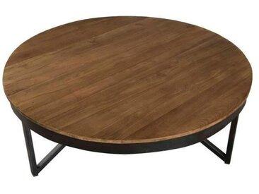 Table basse ronde style industriel en bois teck + pieds en métal - Ø 90 cm