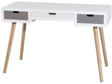 Bureau droit scandinave blanc et gris brillant + pieds bois pin massif - L 112 cm
