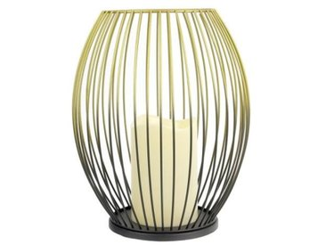 THE HOME DECO LIGHT Lanterne filaire - Bougie Led - Noir/Doré