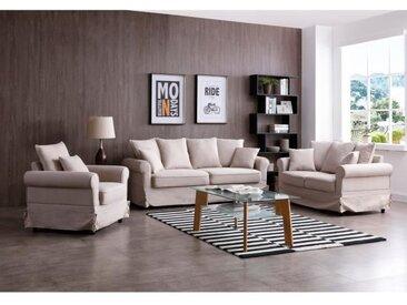 AUGUSTE Ensemble canapés droit fixe 3 + 2 places avec fauteuil - Tissu beige - Classique - L200 x P80  L147 x P80 et L93 x P80 cm