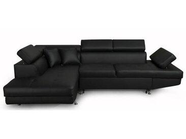 FUTURA Canapé d'angle gauche convertible 4 places + Coffre de rangement - Simili noir - Contemporain - L 272 x P 192 cm