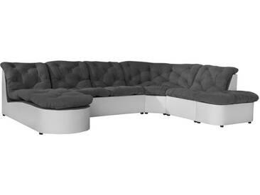 SCALA Canapé dangle panoramique modulable 6 places - Tissu gris et simili blanc - Contemporain - L 310 x P 165 - 222 cm