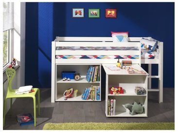 PINO Lit mezzanine + bureau + bibliothèque blanc
