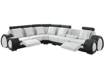 GEOFFREY Canapé de relaxation dangle panoramique 7 places - Simili blanc et gris anthracite - Contemporain - L 343 x P 136 cm