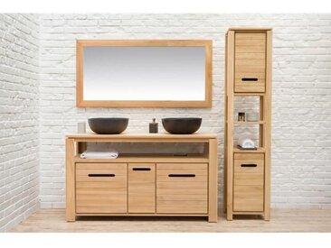 MOREA Ensemble salle de bain en bois teck massif double vasque L 140 cm - Naturel