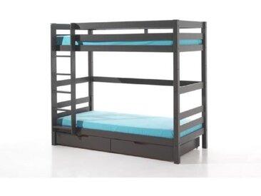 PINO Lit superposé 180cm + 2 tiroirs - 90x200 cm - Taupe
