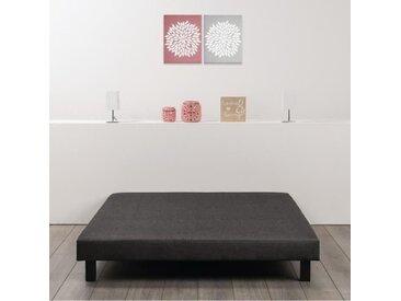 Sommier tapissier à lattes 160 x 200 - Bois massif gris anthracite + pieds - FINLANDEK Rakenne