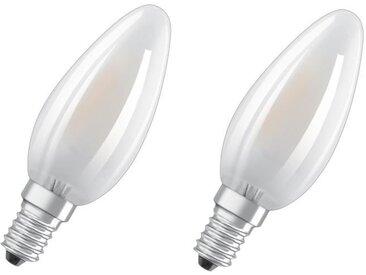 OSRAM Lot de 2 Ampoules LED E14 flamme dépolie 5 W équivalent à 60 W blanc chaud dimmable variateur