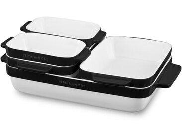 KITCHENAID KBLR05SBOB - Set de 5 plats à four en céramique vitrifiée durable - Blanc et noir
