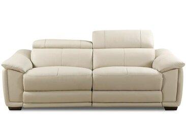 HELVETICA Canapé de relaxation droit fixe cuir et simili PU 3 places - Gris - Contemporain - L 220 x P 102 cm