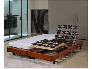 MURCIE Ensemble relaxation matelas + sommiers électriques 2 x 80 x 200 cm - Mousse - 14 cm - Très ferme - Cerisier