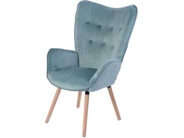 VIGGO Fauteuil - Tissu velours bleu vert deau - Style scandinave - L 68 x P 73 cm