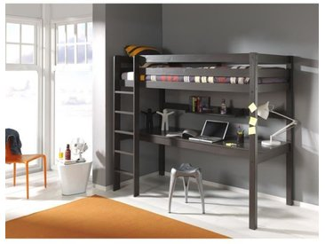 PINO Lit mezzanine 180cm+ bureau - 90x200 cm - Taupe